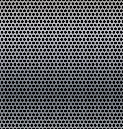 Un fondo de metal con agujeros.  Ilustración de vector