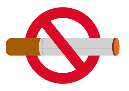 Burning cigarette in no smoking sign; isolated on white background. Vector