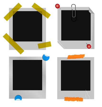 A set of polaroid or instant picture frames.