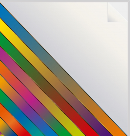 ful: Illustration of diagonal rainbow colored stripes on white label or sticker with copy space and peeled corner.