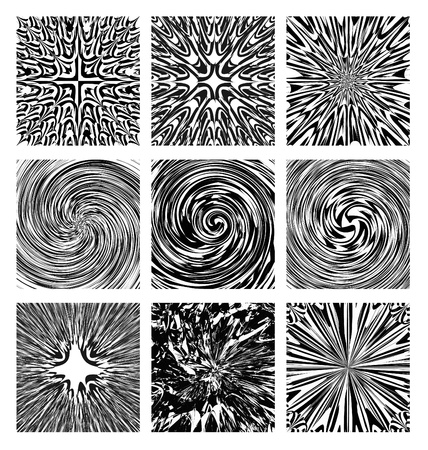A set of various abstract black and white designs.