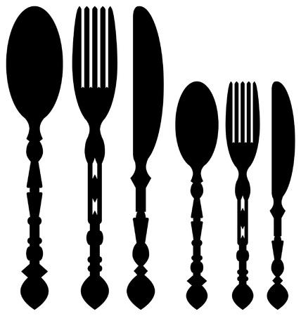 illustrations on five modern looking flatware