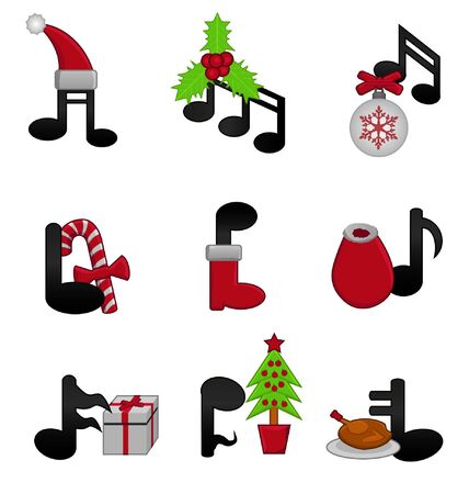 christmas music: music notes with Christmas elements Illustration