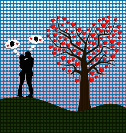 couple kissing against heart shaped tree Vector