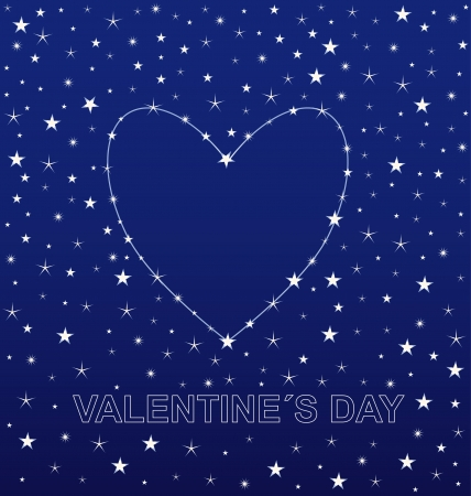 Romantic background with a heart made of stars Vector