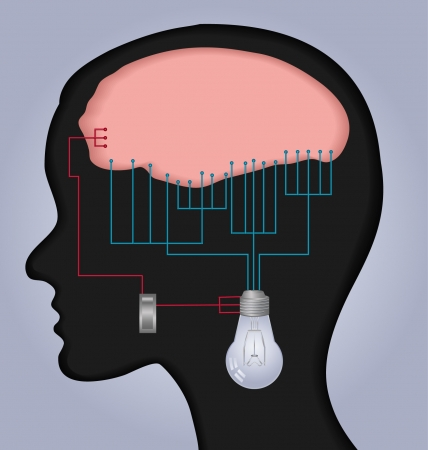 An illustration with human head and brain connecting wires and a switch to a light bulb  Vector