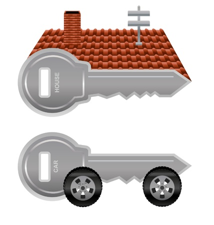 Graphic keys for house and car keys with a roof and a set of car wheels   Theme   Ownership Vector