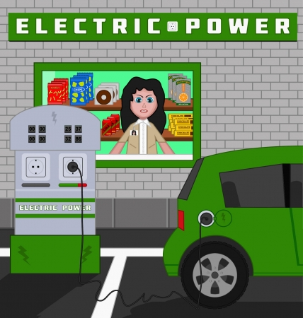 recharging: Cartoon or drawing of a plug-in hybrid car at an electric recharging station