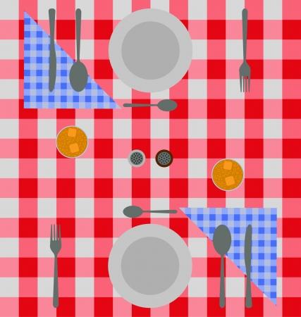 dinner setting: Cena configuraci�n abstracta de las placas de plata y servilletas de cuadros azules y rojos