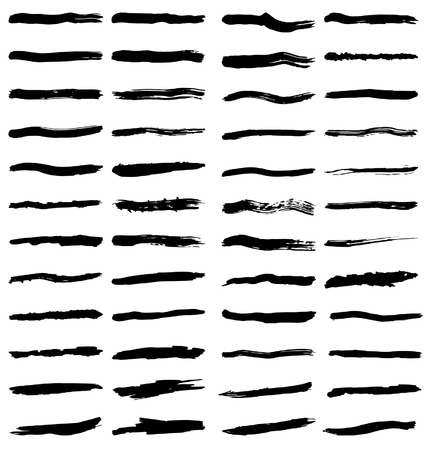 abstractly: Set of various black paint brush strokes or markings on white