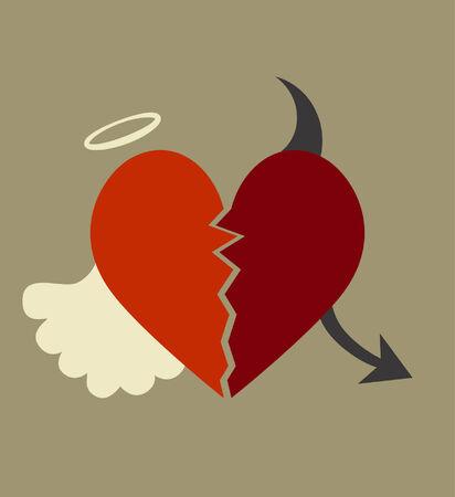 geteilt: Herz zwischen Gut und B�se aufgeteilt Illustration