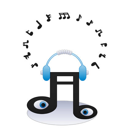 music listening: illustration of a note with music listening center