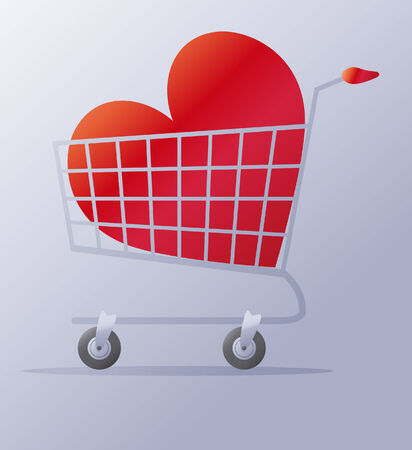 illustration of a shopping cart with a heart Vector