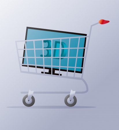 illustration of a shopping cart with a 3d tv in Vector