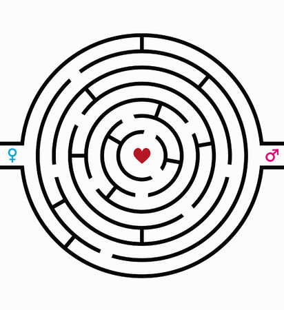 illustration of a labyrinth with a heart in the middle Vector