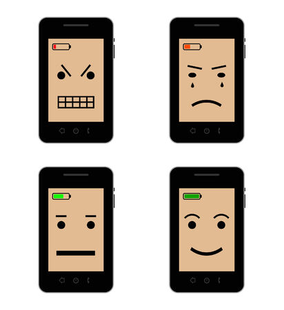 four mobile phones with different battery status Illustration