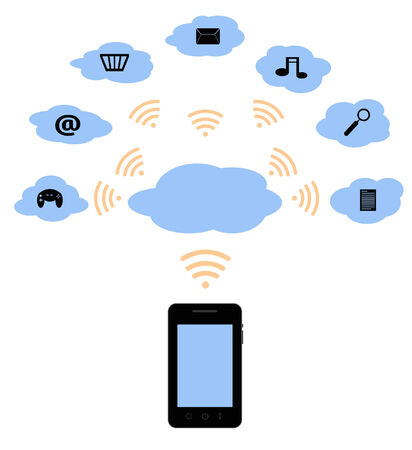 illustration of a mobile phone using the wifi for the cloud Illustration