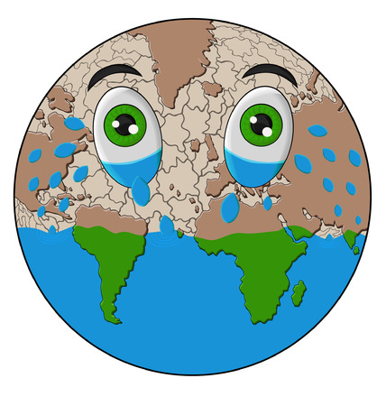 discontent: illustration of a world crying forming arid sea