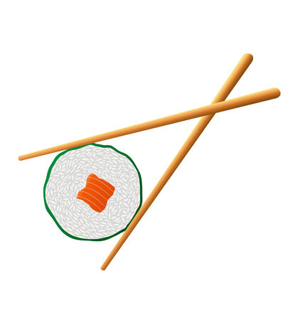 illustration two chopsticks picking up a piece of sushi