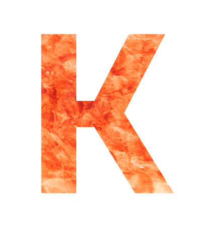 tagline: k letter with texura shaped brown earth or stone Illustration