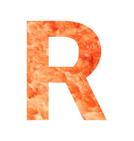 tagline: r letter with texura shaped brown earth or stone Illustration