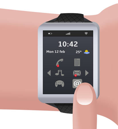 timing: illustration of a doll with a smart watch Illustration