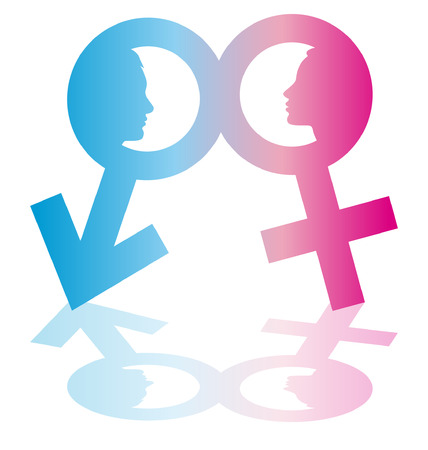 illustration of male and female symbols with human faces