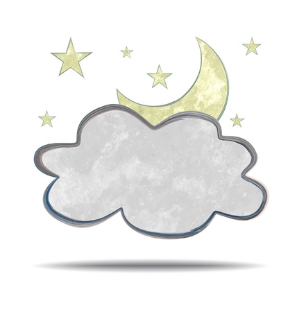 grunge illustration of a cloud, moon and stars