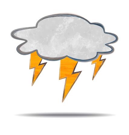 windstorm: grunge illustration of a cloud and lightning
