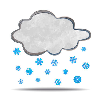 grunge illustration of a cloud and snowflakes Illustration