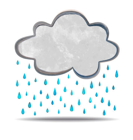 grunge illustration of a cloud and rain