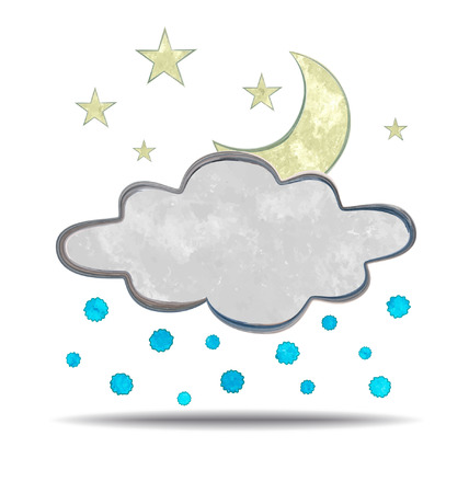 hail: grunge illustration of a cloud, moon and hail