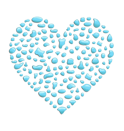 created: illustration of a heart created with water drops
