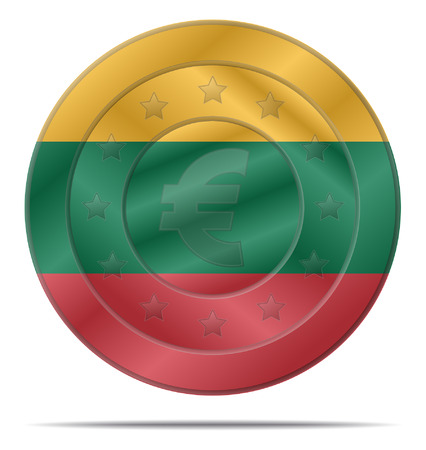 lithuania flag: design of a euro coin with the Lithuania flag