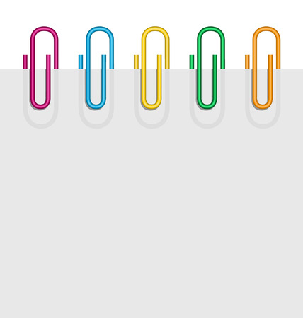 illustration of a sheet of paper flat and color clips