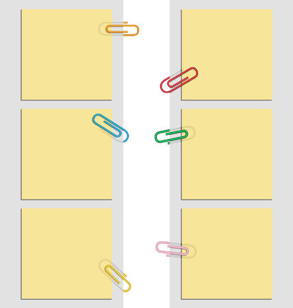 nine design sticky notes and clips Illustration