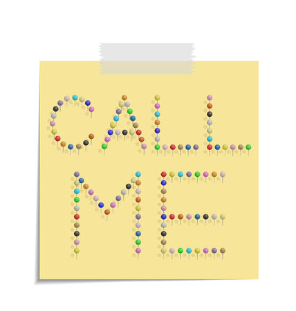 bulletinboard: design of a post with push pins forming the word call me  Illustration