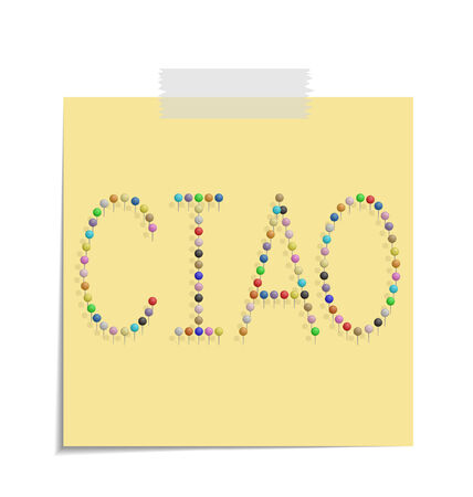 ciao: design of a post with push pins forming the word ciao  Illustration