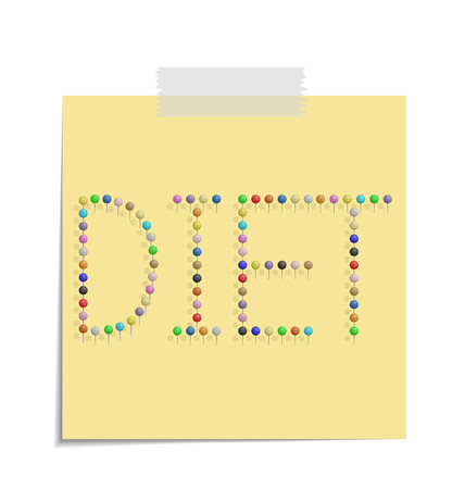 bulletinboard: design of a post with push pins forming the word diet