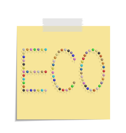 design of a post with push pins forming the word eco  Vector