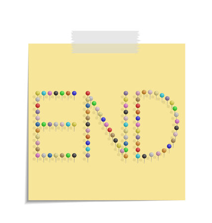 design of a post with push pins forming the word end Vector