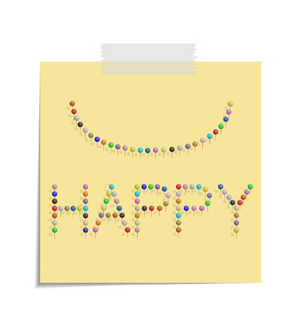 bulletinboard: design of a post with push pins forming the word happy  Illustration