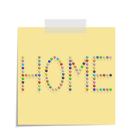 design of a post with push pins forming the word home  Vector