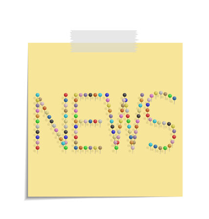 bulletinboard: design of a post with push pins forming the word news