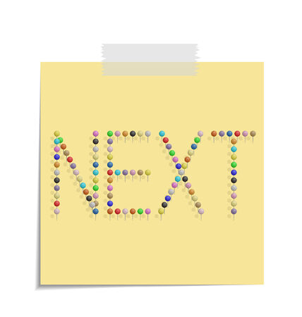 bulletinboard: design of a post with push pins forming the word next