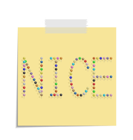 bulletinboard: design of a post with push pins forming the word nice