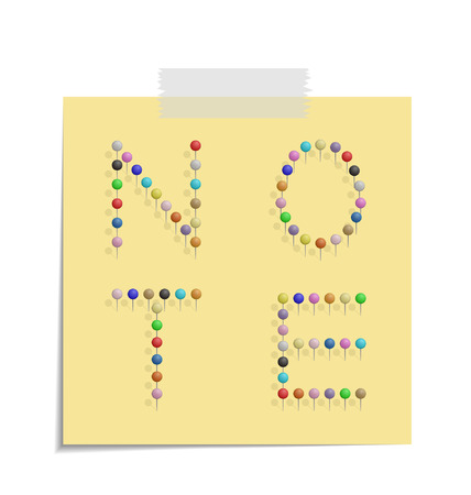 bulletinboard: design of a post with push pins forming the word note  Illustration