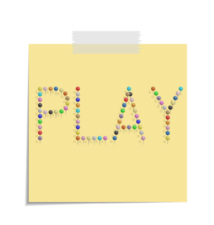 bulletinboard: design of a post with push pins forming the word play