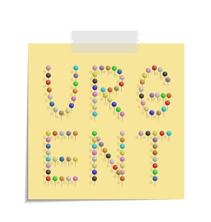 bulletinboard: design of a post with push pins forming the word urgent