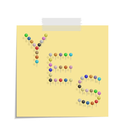 bulletinboard: design of a post with push pins forming the word yes